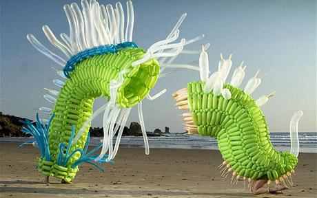Balloon Art - Dinosaurs - Insect Creatures On Beach