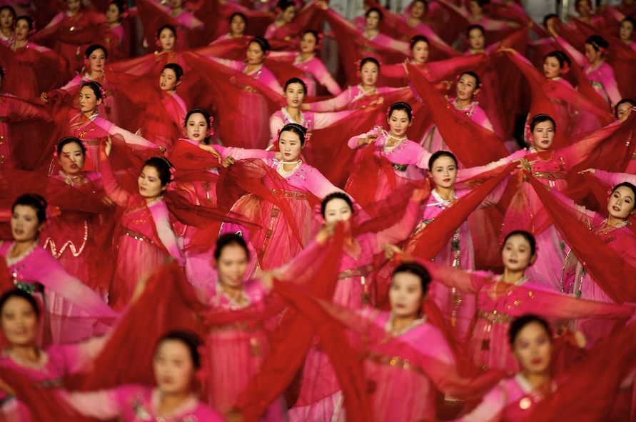 Arirang - Mass Gymnastics - North Korea - performers in red