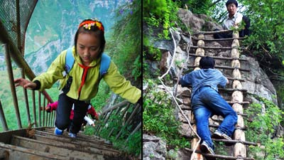 Chinese-children-climbing cliff split