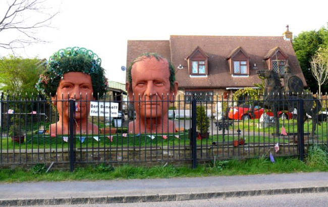 Queen and Prince Phillip Statues Berkshire - From Road