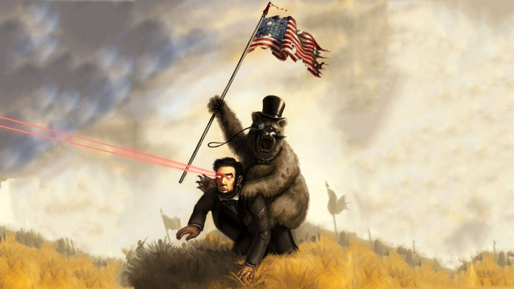 Abraham Lincoln Ridden By Bear With Monacle plus laser
