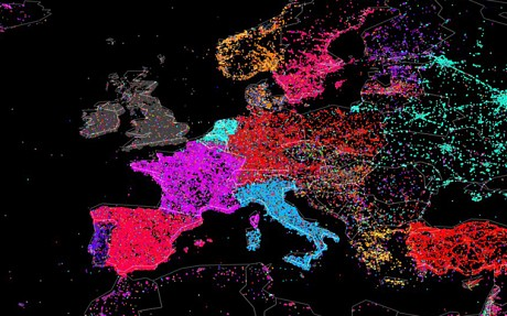 Twitter Users Language Map - Europe
