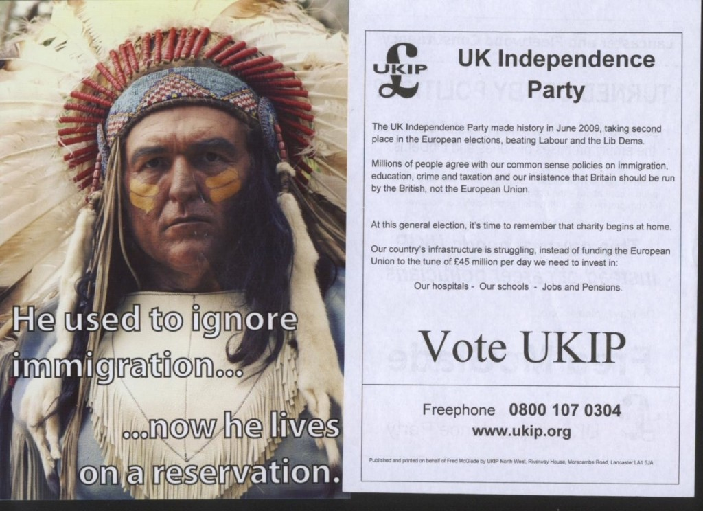 UKIP Poster Comparing Immigration To Native Americans - Reservation
