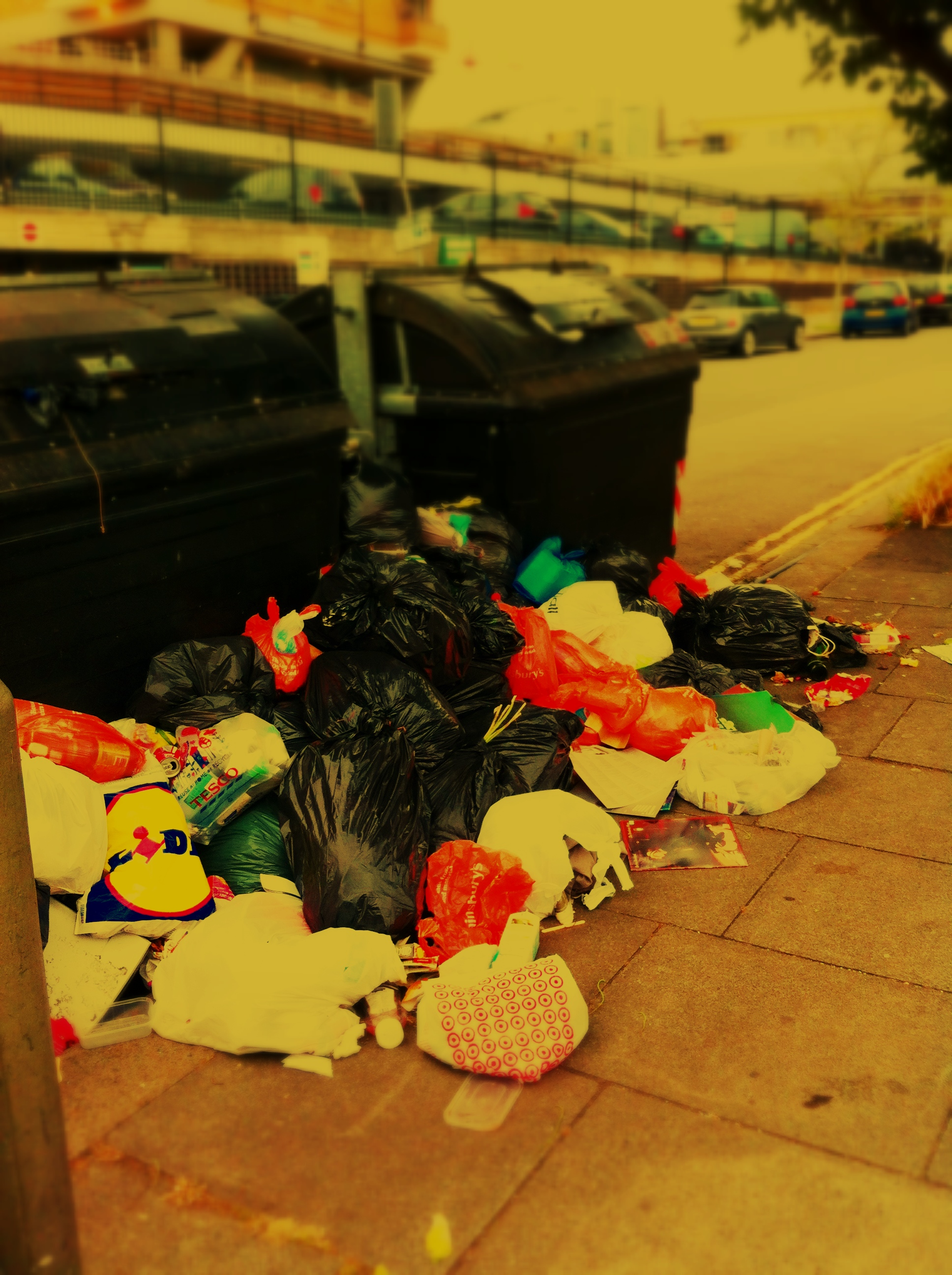 Brighton And Hove - Binmen Strike 2013 - Car Park Litter