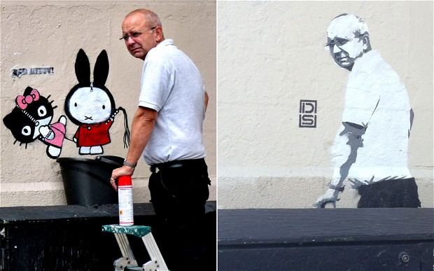Bad Kitty Street Art Removed And Cleaner Replaces