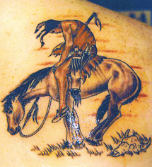 Bad Terrible Horse Tattoo - Red Indian