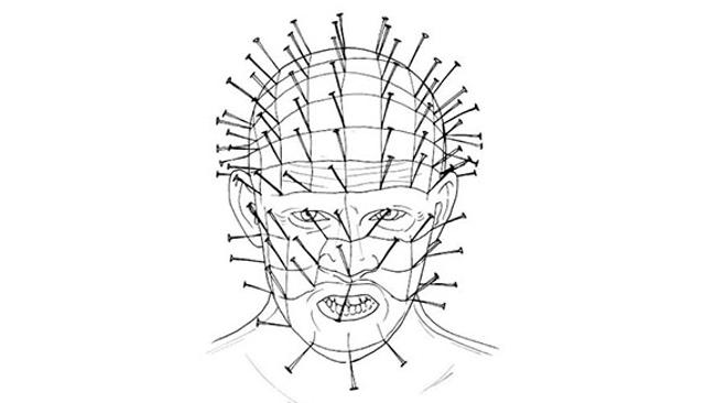 Colour Me Good Arrggghhhh - Horror Colouring Book - Pin Head