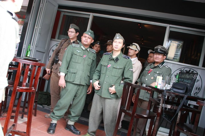 Indonesian Nazi Hitler Cafe - Staff Chilling