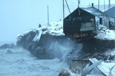 Kivalina - Alaska - Aerial View - Storm Collapse