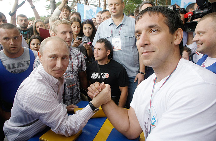 Putin Looking Like Hero James Bond - Arm Wrestle Youth Camp