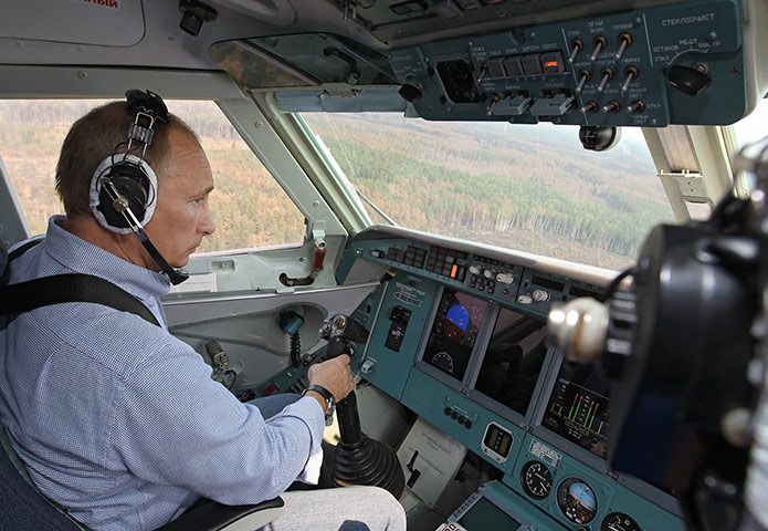 Putin Looking Like Hero James Bond - Flying Aircraft