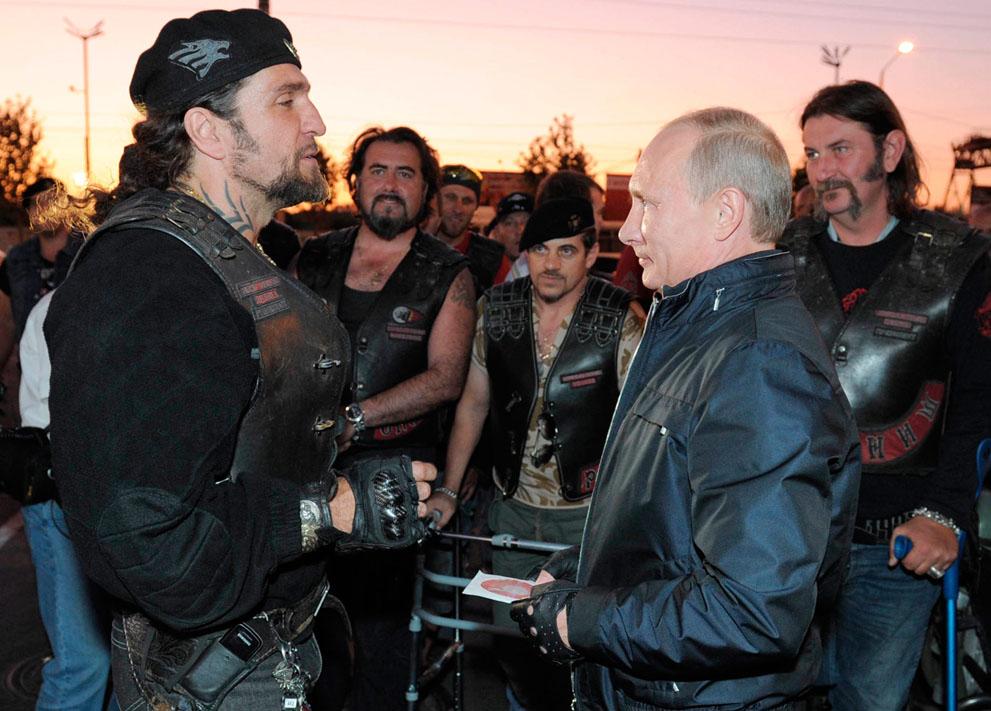 Putin Looking Like Hero James Bond - Hells Angel - Abaddon