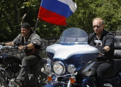 Putin Looking Like Hero James Bond - Hells Angel