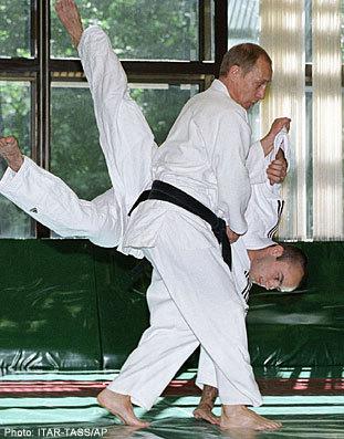 Putin Looking Like Hero James Bond - Karate Throw