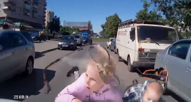 Two Kids Hit By Car Russian Dash Cam