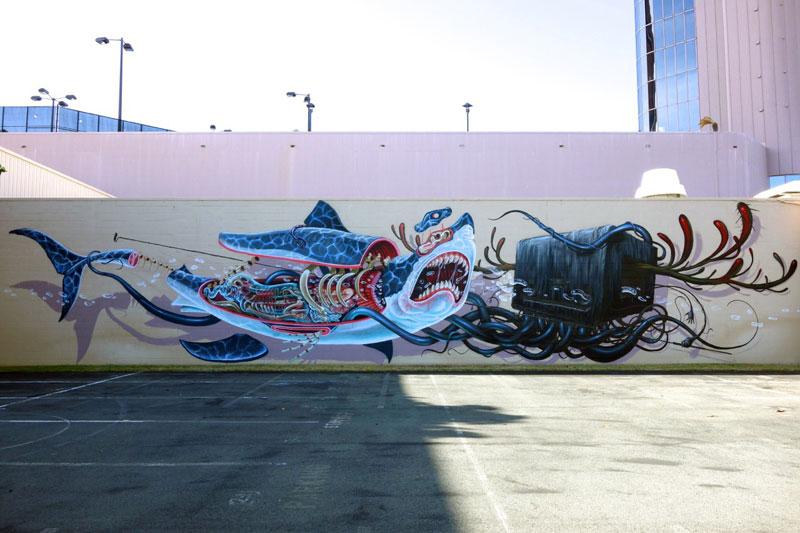 Exploded Street Art By Nychos Shark Lazer Horse