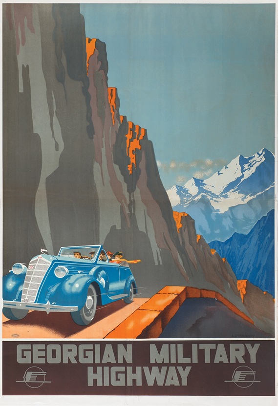Russian Tourist Posters - Intourist poster by Aleksandr Zhitomirsky 1929 Georgian Highway