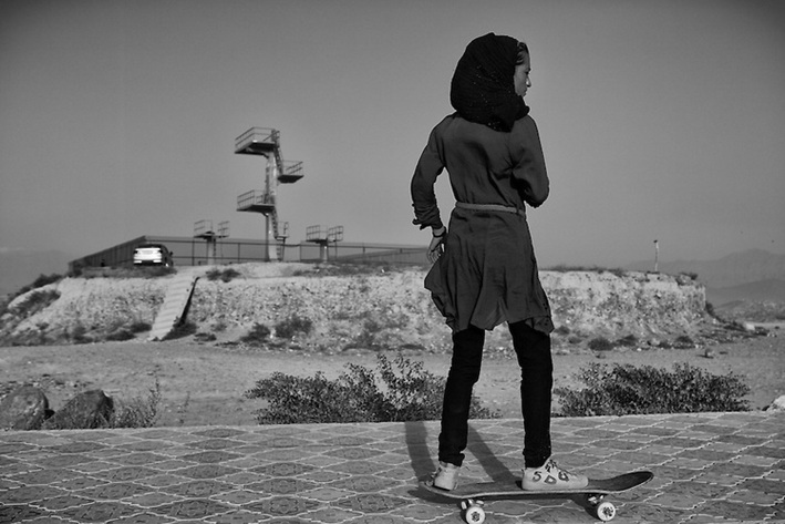 Skateistan - Afghan Girls Skateboarding - Black and White