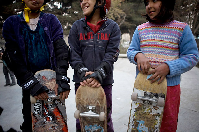 Skateistan - Afghan Girls Skateboarding - three girls