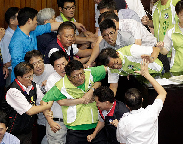 Legislators from the opposition DPP scuffle