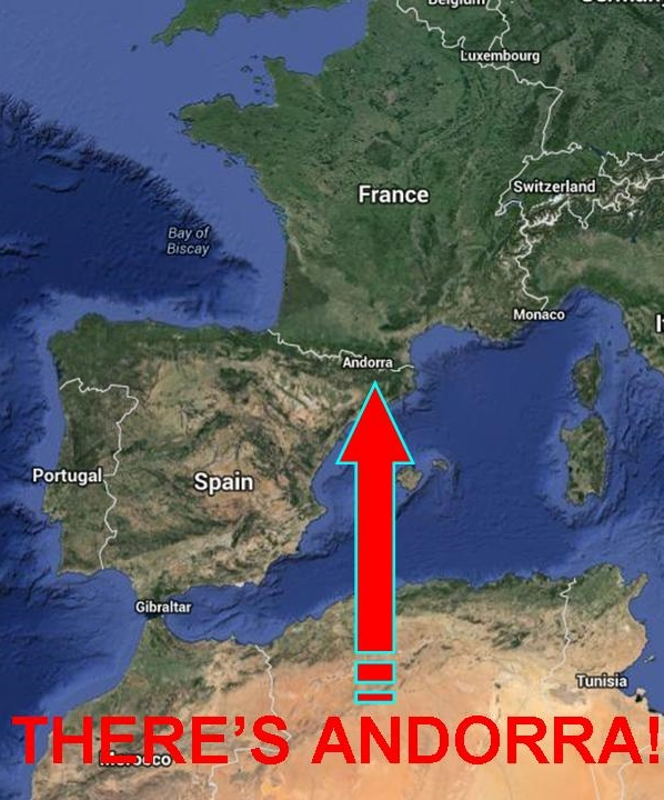 ANDORRAS POSITION IN EUROPE - THERE SHE IS