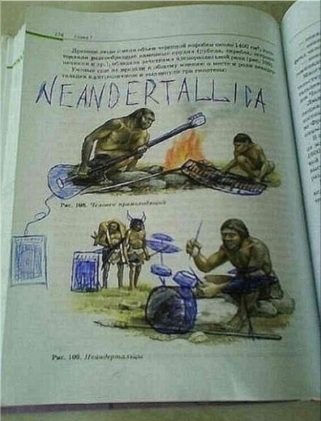 Defaced Text Books - Humour - Neanderthallica