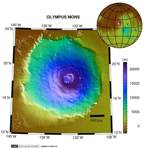 Olympus Mons - Biggest Volcano - Topographic