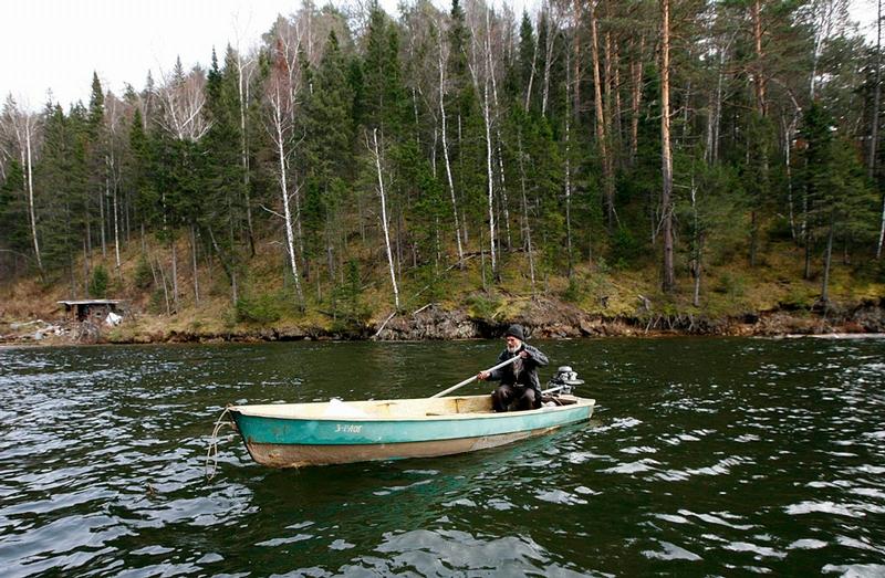 Siberian Hermit - Victor - Russia - In Boat