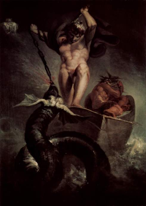 Henry Fuseli - Painter - Illuminati - Thor battering Serpent