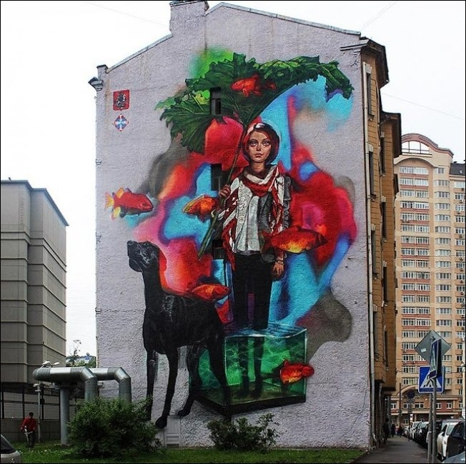 Russia With Love - Street Art - Girl And Plant
