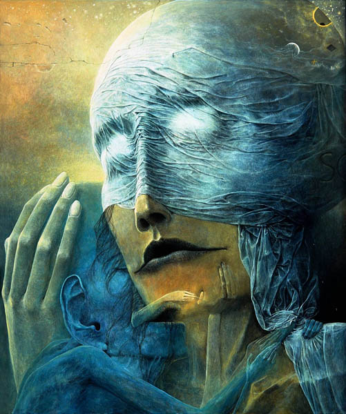 Zdzisław Beksiński - Polish Artist Visions Of Hell - woman and baby